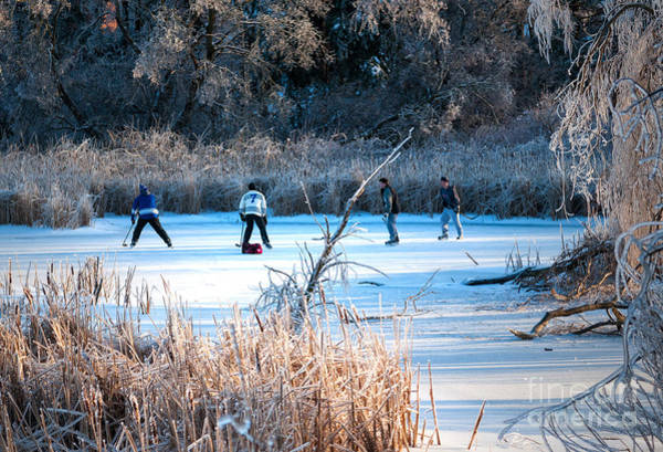 Photograph - Game Of Pond Hockey  by Les Palenik