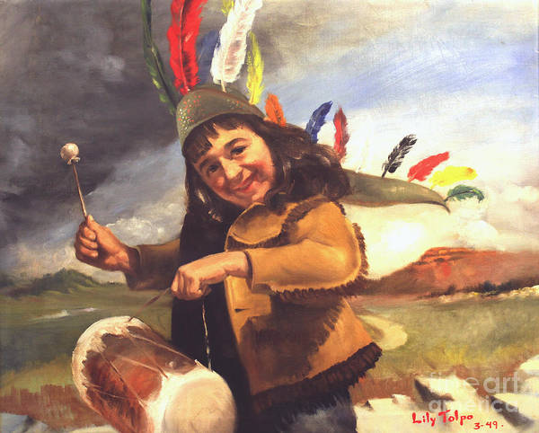 Painting - Playing Pow Wow by Art By Tolpo Collection