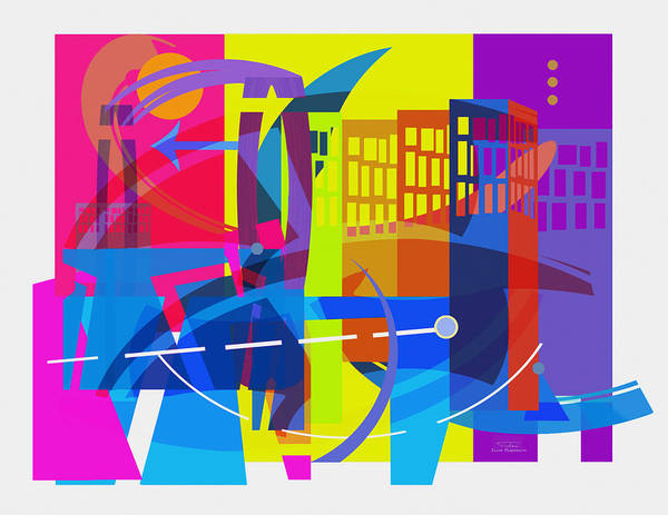 Wall Art - Drawing - Playing Shapes City 01 by MGL Meiklejohn Graphics Licensing