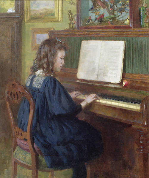 Blue Dress Painting - Playing The Piano by Ernest Higgins Rigg