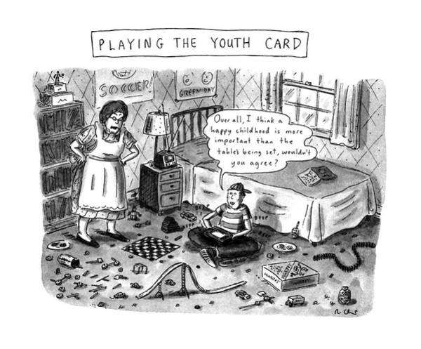 Trials Drawing - Playing The Youth Card by Roz Chast
