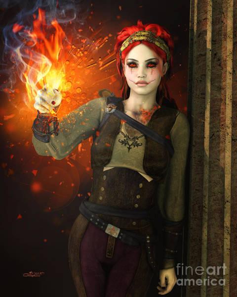 Digital Art - Playing With Fire by Jutta Maria Pusl
