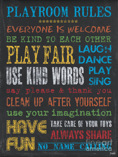Laughs Wall Art - Painting - Playroom Rules by Debbie DeWitt
