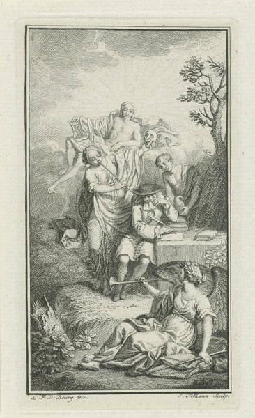 Allegorical Figure Drawing - Playwright Paul Scarron Surrounded By Allegorical Figures by Jacob Folkema