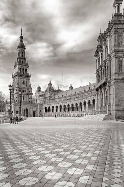 Photograph - Plaza De Espana Seville Bw by Joan Carroll