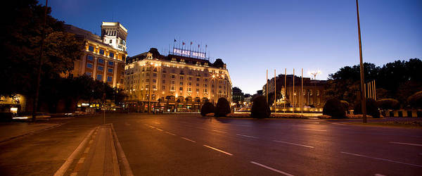 Prado Photograph - Plaza De Neptuno And Palace Hotel by Panoramic Images