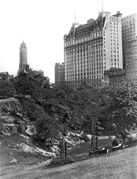 Luxury Hotel Photograph - Plaza Hotel From Central Park by Underwood Archives