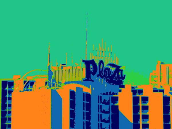 Downtown Las Vegas Digital Art - Plaza Roof by Randall Weidner