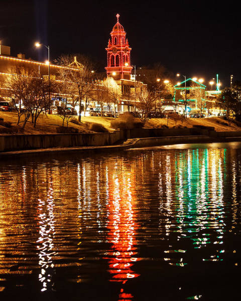 Wall Art - Photograph - Plaza Time Tower Night Reflection Tall by Kevin Anderson