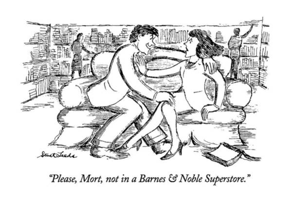 Bookstore Drawing - Please, Mort, Not In A Barnes & Noble Superstore by Stuart Leeds