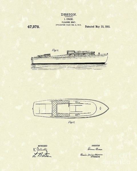 Pleasure Wall Art - Drawing - Pleasure Boat 1915 Patent Art by Prior Art Design