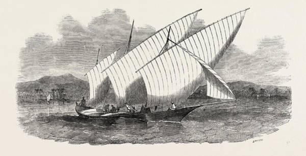 Pleasure Drawing - Pleasure-boat Of The Rajah Of Johore by English School