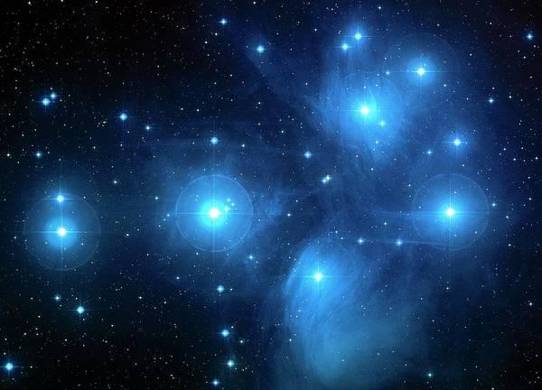 Photograph - Pleiades Star Cluster (m45) by Nasaesastsciauracaltech