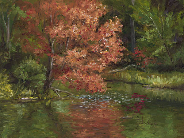Painting - Plein Air - Red Tree by Lucie Bilodeau