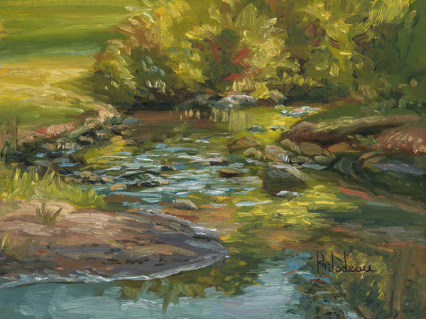 Outdoors Painting - Plein Air - Stream In Forest Park by Lucie Bilodeau