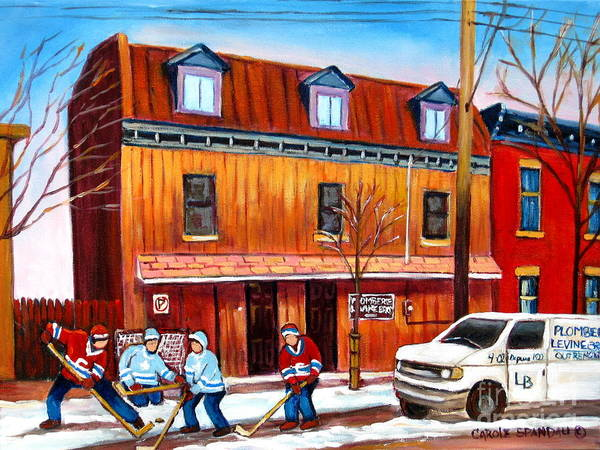 Painting - Plomberie Levine Brothers Montreal Winter Street Scene by Carole Spandau