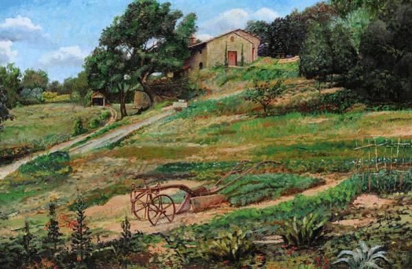 Vegetable Garden Photograph - Plough, Cortona, 1999 Oil On Canvas by Trevor Neal