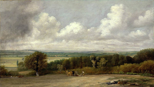 Ploughing Painting - Ploughing Scene In Suffolk A Summerland Dedham Vale by Litz Collection