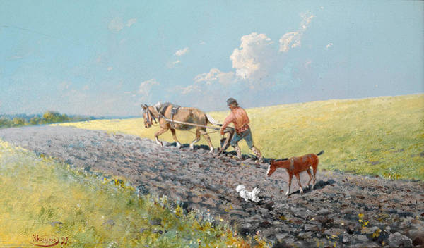 Ploughing Painting - Ploughing The Field by Nicolai Karazine