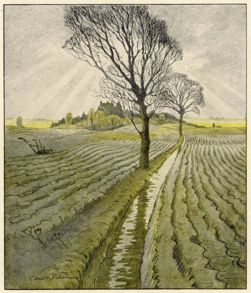 Grey Skies Drawing - Plowed Fields Beneath Grey  Autumn by Mary Evans Picture Library