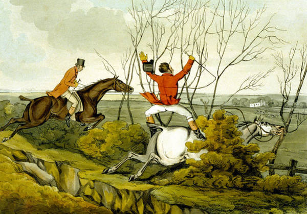 Accident Painting - Plunging Through The Hedge From Qualified Horses And Unqualified Riders by Henry Thomas Alken