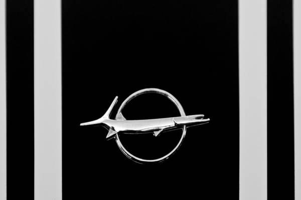 Photograph - Plymouth Barracuda Emblem -0054bw by Jill Reger