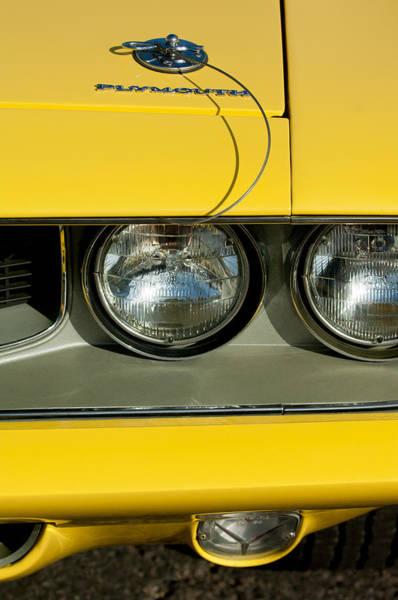 Photograph - Plymouth Barracuda - Hemi Cuda - Head Lights Emblem by Jill Reger
