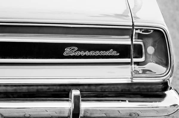 Photograph - Plymouth Barracuda Taillight Emblem -0711bw by Jill Reger