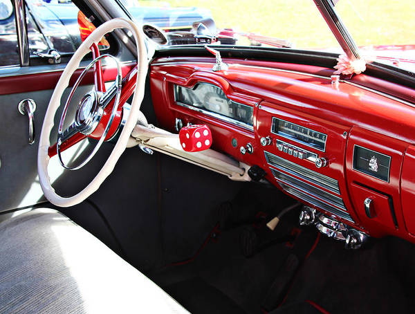 Vintage Conway Photograph - Plymouth Dash Red And White With Chrome by Tom Conway