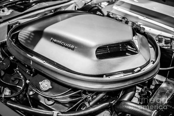 Compartments Photograph - Plymouth Hemi Cuda Engine Shaker Hood Scoop by Paul Velgos