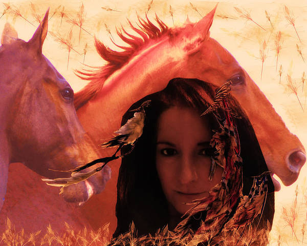 Horse Feathers Digital Art - Pocahontas Lives by Camille Lopez