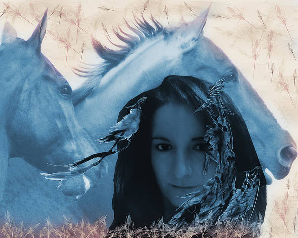 Horse Feathers Digital Art - Pocahontas Lives Cool Version by Camille Lopez