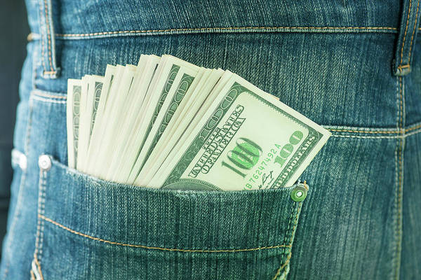 One Dollar Photograph - Pocket Containing 100 Us Dollar Banknotes by Ktsdesign