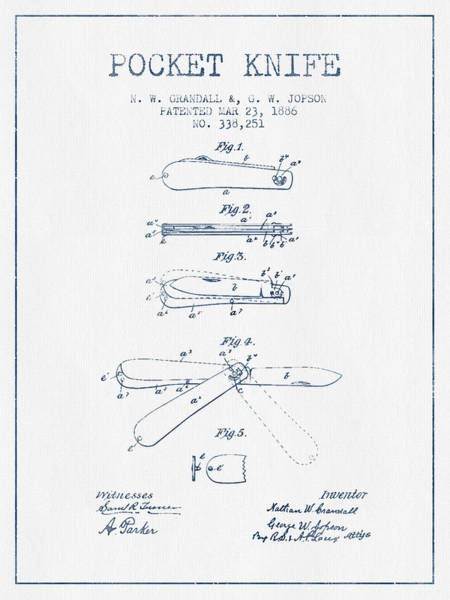 Blades Digital Art - Pocket Knife Patent Drawing From 1886 -  Blue Ink by Aged Pixel