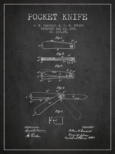 Blades Digital Art - Pocket Knife Patent Drawing From 1886 - Dark by Aged Pixel
