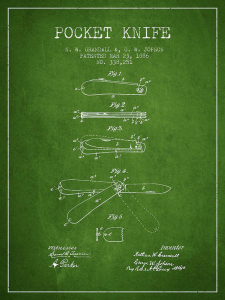 Blades Digital Art - Pocket Knife Patent Drawing From 1886 - Green by Aged Pixel