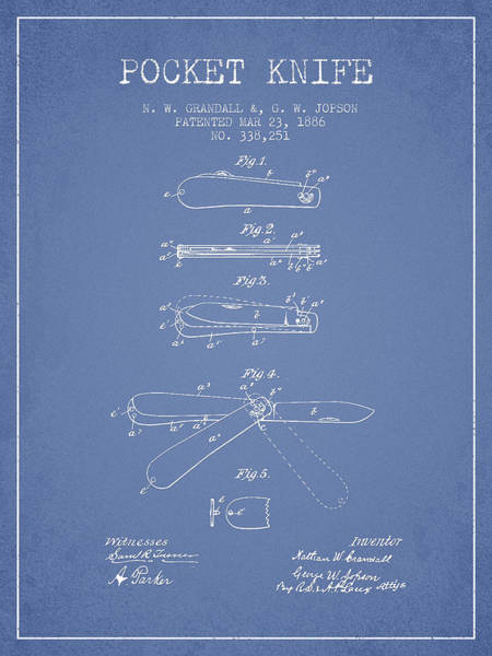 Blades Digital Art - Pocket Knife Patent Drawing From 1886 - Light Blue by Aged Pixel