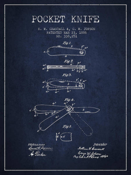 Blades Digital Art - Pocket Knife Patent Drawing From 1886 - Navy Blue by Aged Pixel