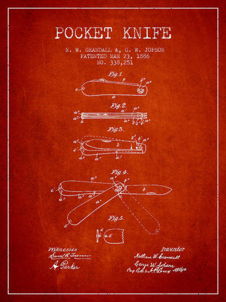 Blades Digital Art - Pocket Knife Patent Drawing From 1886 - Red by Aged Pixel