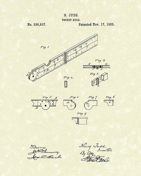 1885 Wall Art - Drawing - Pocket Rule 1885 Patent Art  by Prior Art Design