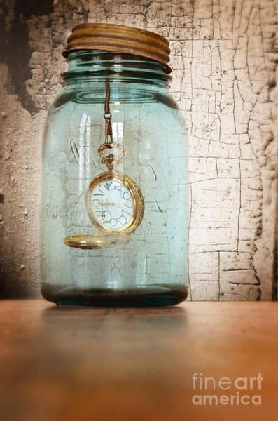 Wall Art - Photograph - Pocket Watch In A Mason Jar by Jill Battaglia