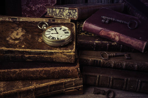 Skeleton Key Photograph - Pocket Watch On Old Book by Garry Gay