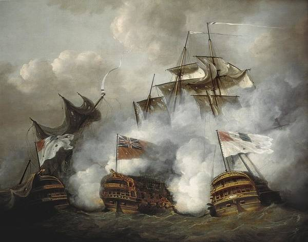 Battle Of The Atlantic Wall Art - Photograph - Pocock, Nicholas 1740-1821. The Hms by Everett