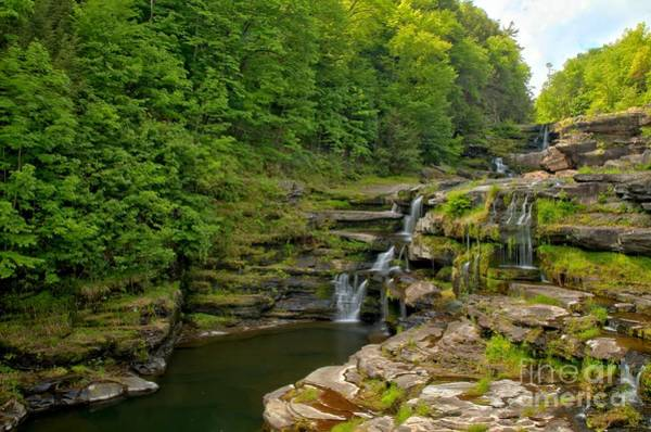 Poconos Wall Art - Photograph - Poconos Ledges Waterfall by Adam Jewell
