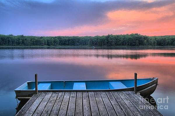 Pocono Mountains Wall Art - Photograph - Poconos Lake Whitney Sunset Rowboat by Adam Jewell