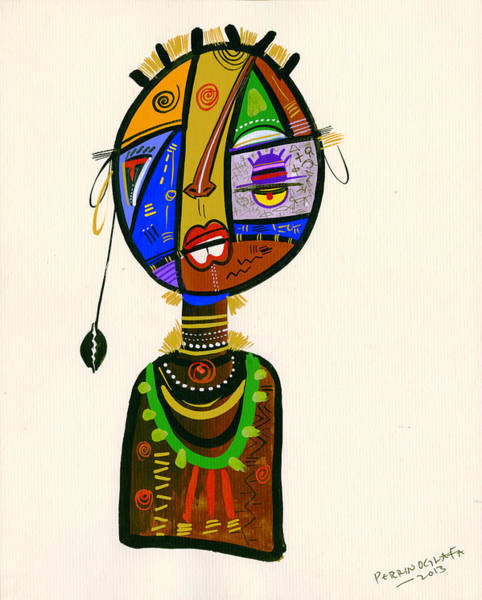 Uganda Wall Art - Painting - Poetic Faces by Oglafa Ebitari Perrin