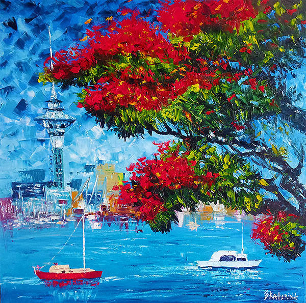 Painting - Pohutukawa And Boats - Kiwi Summer by Ekaterina Chernova