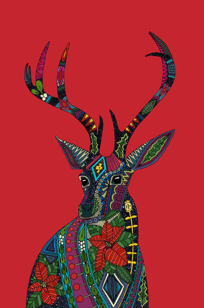 Deer Drawing - Poinsettia Deer Head Red Single by MGL Meiklejohn Graphics Licensing