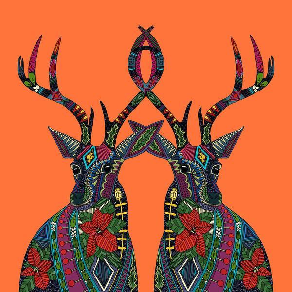 Deer Drawing - Poinsettia Deer Spiced Orange by MGL Meiklejohn Graphics Licensing