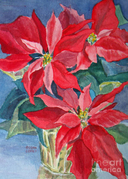 Painting - Poinsettias In Gold by Joan Coffey